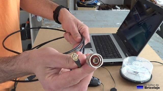 cable con conector N-macho y Rp-sma macho