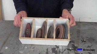cómo organizador los discos para la amoladora o radial