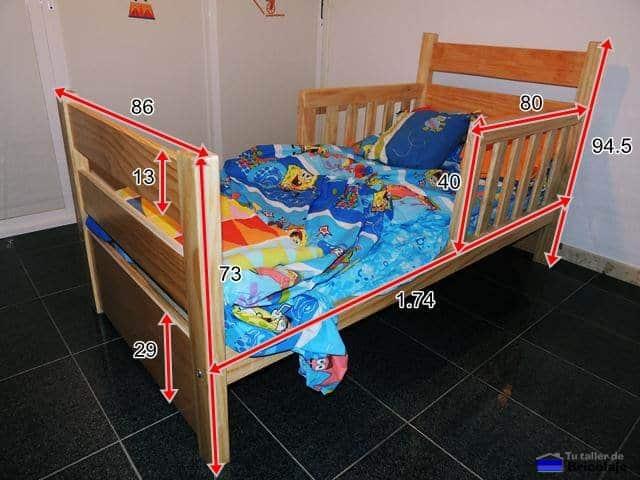 C mo hacer una cama para ni os en madera for Cama 3 4 medidas