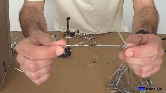 primer cable de audio soldado y aislado con termoretractil