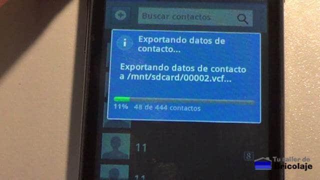 exportando los contactos a la tarjeta micro sd del smartphone con sistema operativo android