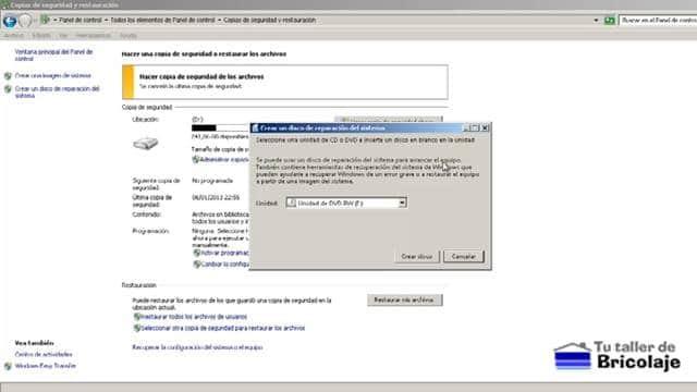 debemos insertar un cd o dvd en blanco para crear el disco de reparación del sistema windows 7
