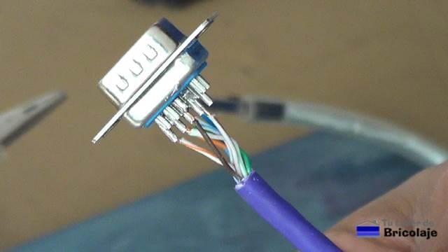 cable de red soldado al conector db15