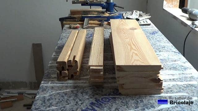 toda la madera necesaria para hacer la mesa centro