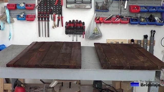 cubierta superior e inferior de la mesa de centro con madera de palets
