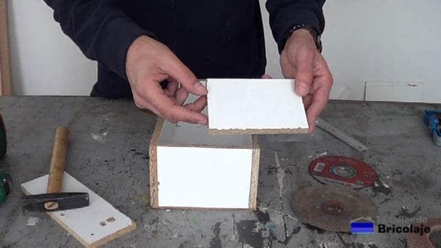 trozos de madera para hacer las separaciones interiores en el organizador