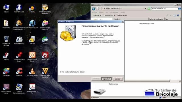 iniciando el recuva para recuperar los archivos borrados