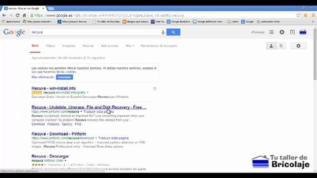 buscando el programa recuva en el buscador