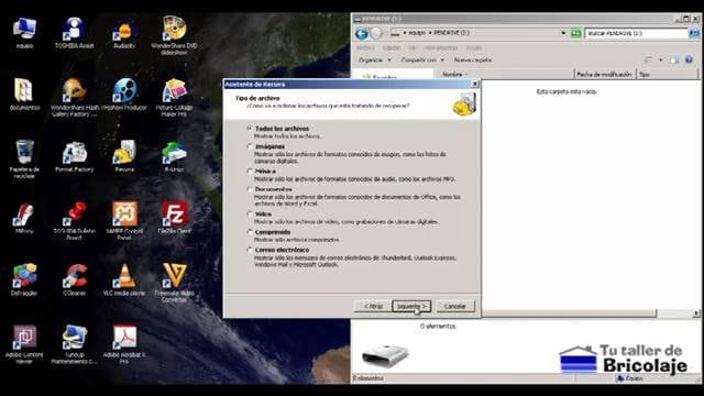 pantalla donde eligimos el tipo de archivo a recuperar