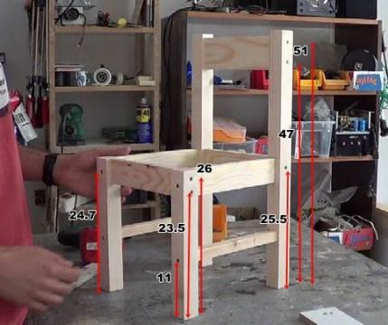 medidas donde realizar  los agujeros para sujetar la silla de madera para niños con tornillos