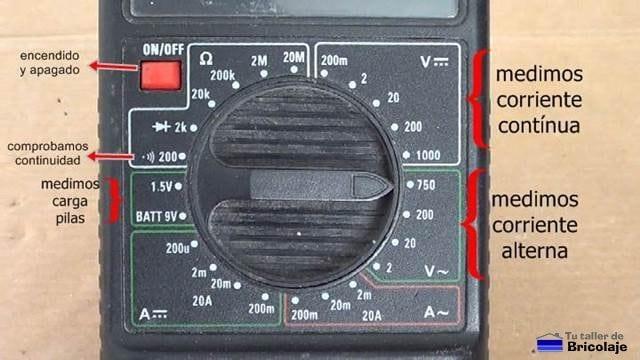 diferentes funciones básicas del multímetro o tester digital