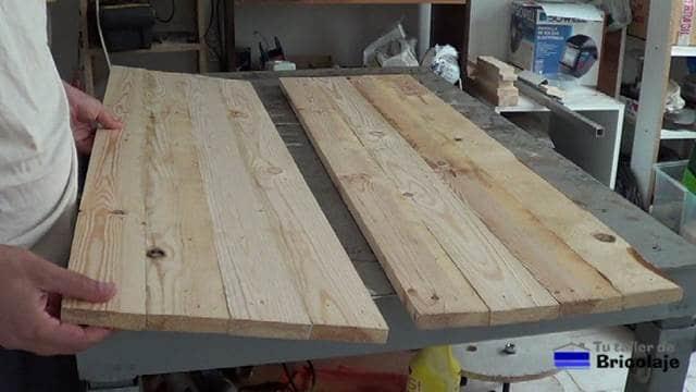 parte de la madera de palet unida