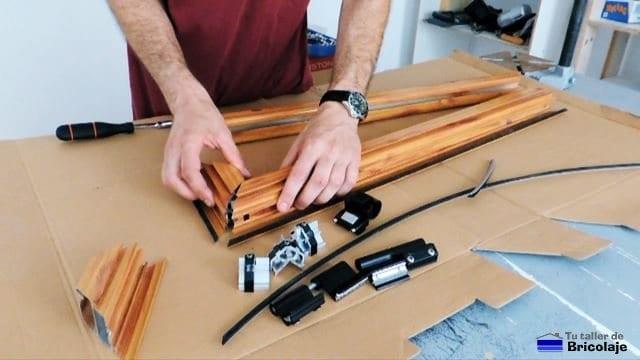 montando la ventana de aluminio abatible
