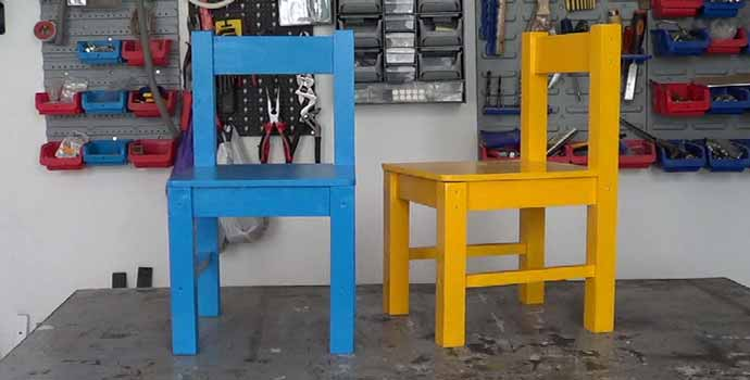 Cómo hacer sillas de madera para niños con tornillos 2/2