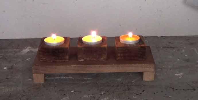 Cómo hacer un sencillo portavelas en madera