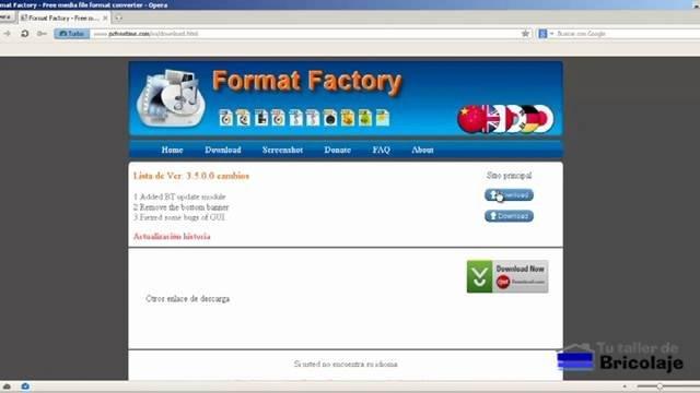 página donde descargar format factory