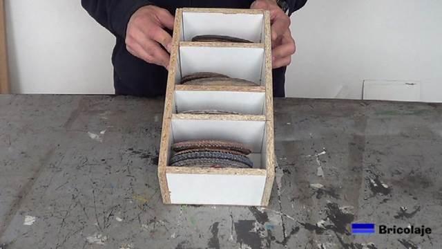 cómo hacer un organizador para los discos de la amoladora o radial