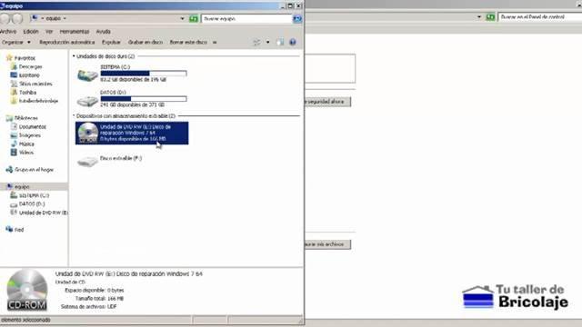 disco de reparación del sistema para windows 7