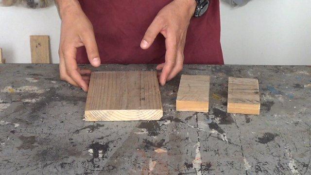 piezas de madera de palets necesarias para realizar el porta llaves