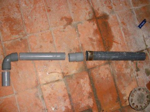 despiece del tubo a construir para la evacuación de aguas sucias desde la lavadora hacia el desagüe