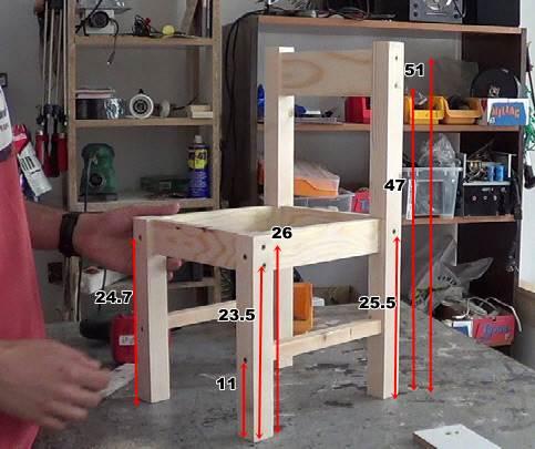 C mo hacer sillas de madera para ni os con tornillos 1 2 for Medidas sillas ninos